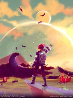 Brightness - No man's sky by MaKuZoKu Character Concept, Concept Art, Alien Spaceship, Shadow Of The Colossus, No Man's Sky, Alien Art, Red Candles, We Bare Bears, Sky Art