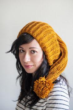 7f3498bff7d Orange Mustard Oversized hand knit slouchy beanie