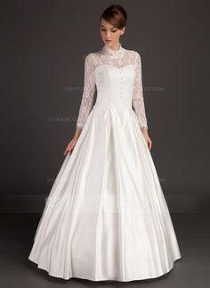 A-Line/Princess High Neck Floor-Length Satin Lace Wedding Dress (002015488)