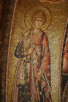 The Holy, glorious and right victorious Great Martyr and Trophy Bearer George - Mosaic from The Church of the Holy Saviour in Chora (Kariye Müzesi), Constantinople, Turkey