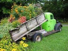 Vintage truck. Old wood. Green. Flowers. ♥   https://www.facebook.com/SusansSalvages?ref=stream
