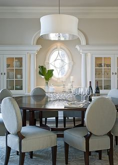 TMS Architects...love the niche and the window in this terrific dining room. Oceanfront Hampton Residence