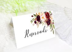 Marsala, Place Cards, Place Card Holders, Wedding, Scrapbook, Events, Floral, Wedding Invitation Printing, Sign