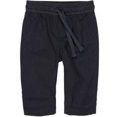 Pantalon en coton noir à fines rayures.