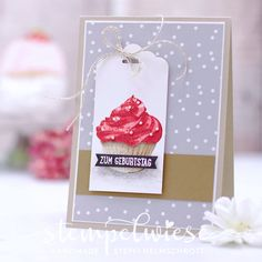 Geburtstagskarte mit Cupcake in Aquarell - Stampin' Up! - Stempelwiese