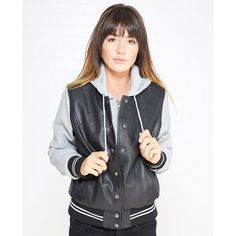 Louise Paris Ltd  Faux Leather Varsity Jacket ($40) ❤ liked on Polyvore featuring outerwear, jackets, wet seal, pocket jacket, varsity jacket, button jacket, wet seal jackets and blouson jacket