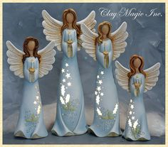 Lovely candle-holding angels, love the blue of the gowns, by Clay Magic Polymer Clay Figures, Polymer Clay Art, Fimo Clay, Christmas Clay, Christmas Angels, Clay Projects, Clay Crafts, Pottery Angels, Clay Angel