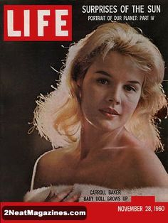 """Life Magazine November 28, 1960 : Cover - Carroll Baker in white fur, she lives her role in """"Something Wild"""" before playing it."""