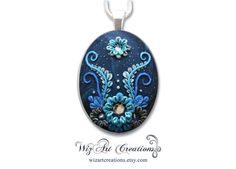 Galaxy Flower Handmade Polymer Clay Pendant by WizArtCreations