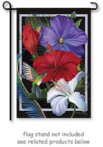 Hummingbird Hibiscus Garden Flag by artist Nancy Jacey from Toland Home Garden flag collection.  Ruby Throated Hummingbird