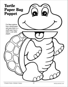 Free turtle paper lunch bag puppet pattern from Scholastic.