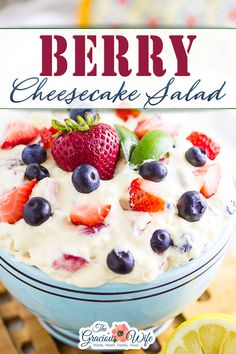 """This Berry Cheesecake Salad features fresh, juicy berries in a creamy cheesecake mixture that makes the most amazing fruit salad ever! Your family will go nuts over it! My kids are huge fans of this Berry Cheesecake Salad because, well, it's more like berry cheesecake than anything resembling a """"salad."""" Get the recipe and make your own Berry Cheesecake Salad today! 
