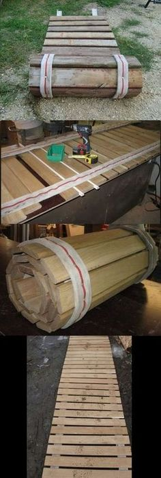 Pallets Woodworking Ideas Roll-up sidewalk made from pallet wood and old fire hose. Great for rainy season or after a flood: Compilation Pic. - Roll-up sidewalk made from pallet wood and old fire hose. Great for rainy season or camping.