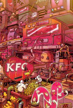 thought provoking art - Supersize Them Fast Food Illustrations by Mr Misang Food Illustrations, Illustration Art, Pop Art Wallpaper, Food Wallpaper, Cyberpunk Art, Grid Design, Arte Pop, Korean Artist, Psychedelic Art