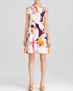 Diane von Furstenberg Shirt Dress - Scarlet Abstract Print