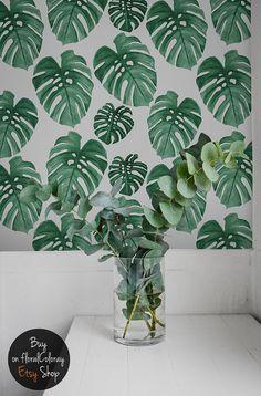 Monstera Leaves Removable Wallpaper The material is stain- and tear-resistant and sticks to any flat surface! Its main advantage is its wonderfully simple application. Navy Blue Wall Art, Navy Blue Walls, Palmiers, Diy Wall Stickers, Scandinavian Art, Blue Painting, Self Adhesive Wallpaper, Wall Murals, Wall Art Prints