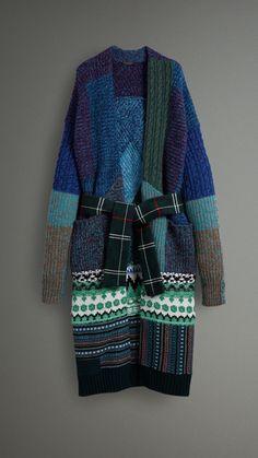 Пальто-кардиган в стиле «пэчворк» (Синяя Гортензия) - Для женщин | Burberry