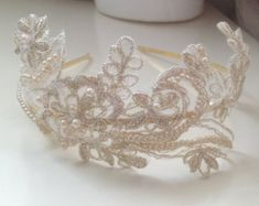 Kelly-Anastasia: Bridal Pearls Embroidered Champagne Gold Lace Metal Headband / Tiara / Wedding Head piece
