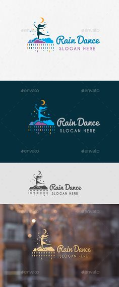 Rain Dance Logo Template — Vector EPS #girl #rainbow • Download ➝ https://graphicriver.net/item/rain-dance-logo-template/19220574?ref=pxcr