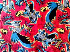 Batman fabric comic book style in red background. 100 by JeAdore, $7.50