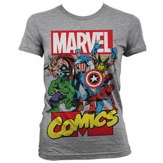 Marvel Comics has possibly the most awesome line-up of superheroes and this women's tee pictures their most loved characters of all! Shown below the famous Marvel logo are: The Mighty Thor, The Incredible Hulk, Captain America, Wolverine and naturally The Amazing Spider-Man! If you are a Marvel Comics fan then this is the t shirt for you. This is an officially licensed Marvel Comics ladies product.
