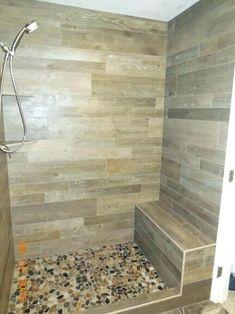 Corner shower bench bathroom stool wood plank porcelain tile with full width ideas heig Wood Tile Shower, Wood Bathroom, Small Bathroom, Bathroom Showers, Bathroom Ideas, Pebble Shower Floor, Tiled Showers, Shower Seat, Shower Benches