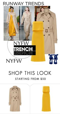 """""""NYFW Trend- Trench coats"""" by groove-muffin ❤ liked on Polyvore featuring Sugarhill Boutique, Halston Heritage and Alice + Olivia"""
