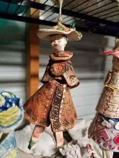 Garden bell girl by HanWeavers Pottery
