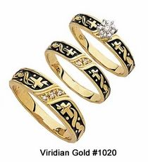 Christian Cross Diamond Wedding Ring Set In Yellow Gold With Dark Accent 1020