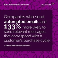 Companies who send automated emails are 133% more likely to send relevant messages that correspond with a customer's purchase cycle #ifactory #ifactorydigital  #emailmarketing #digitalmarketing #digital #edm #marketing #statistics  #email #emails
