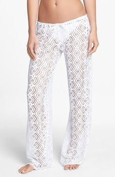 Sheer cover-up pants are patterned with a bohemian crochet pattern. Color(s): black, white. Brand: Becca. Style Name: Becca Crochet Cover-Up Pants. Style Number: 938151. $72.00 by nordstrom