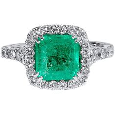 Pre-owned carati colombiano Cocktail Anello Smeraldo Diamante Oro Green Diamond Rings, Green Emerald Ring, Emerald Jewelry, Emerald Diamond, Yellow Gold Rings, Emerald Rings, Vintage Inspired Engagement Rings, Colombian Emeralds, Vintage Diamond