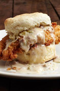 Chicken Biscuits & Sausage Gravy - This is one BIG bad ass breakfast.