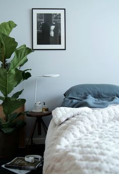 Moody bedroom with green plant and washed bed linen in charcoal colour. Soak & Sleep - Hege in France