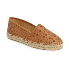 Women's Patricia Green Anna Perforated Espadrille ($83) ❤ liked on Polyvore featuring shoes, sandals, tan leather, platform shoes, leather espadrille sandals, tan leather shoes, espadrilles shoes and platform espadrilles