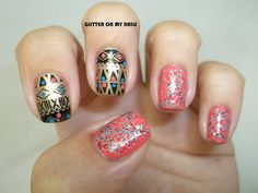 GLITTER ON MY NAILS: tribal stamping and sugar rim by milani