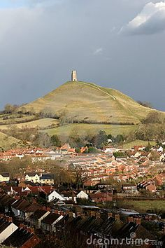 Glastonbury Tor and town, Somerset, England.