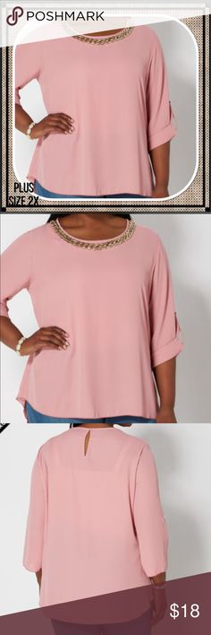 Plus Pink Chain-Link Necklace Blouse This dusty pink chiffon makes a statement when you enter the room with a detachable faux gold chain-link necklace that lays just below the scoop neck. Beautiful addition to your wardrobe. Rolled tab sleeves. 100% polyester. Machine wash, instructions on the label. Made in the USA Tops Blouses