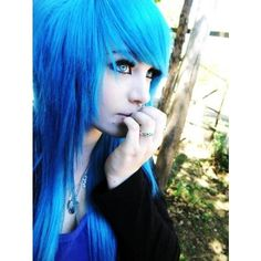 amber mccrackin blue, blue eyes, blue hair, emo found on Polyvore