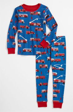 hatley fire truck fitted two piece pajamas toddler nordstrom