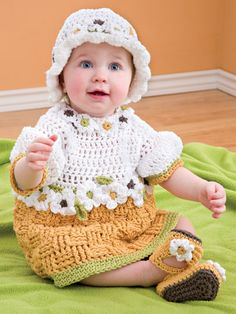 Crochet for Babies & Children - Crochet Dress Patterns - Free Crochet Pattern -- Basketweave Baby Set