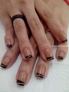 Black nails, black french nails, black nail art, french tips, beautiful nail Nail Manicure, Diy Nails, Manicures, Nail Polish, Love Nails, Pretty Nails, Black Nail Art, Black Nails, Minimalist Nails