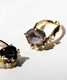 Unearthen Geode Lune Ring with natural stones