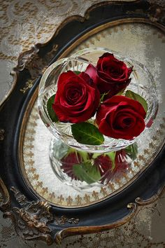 Roses in a crystal bowl on a mirror. would like a side-table decoration like that. Rose Garden Design, Side Table Decor, Red Cottage, Shabby Cottage, Cottage Chic, Shabby Chic, Beautiful Red Roses, Hybrid Tea Roses, Love Rose