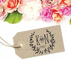 Custom Wedding Favor Tag - Monogram Wedding Stamp - Boho Wedding Stamp - Wreath Wedding Tag - Bohemian Wedding Stamp with Couples Initials by SouthernPaperAndInk on Etsy