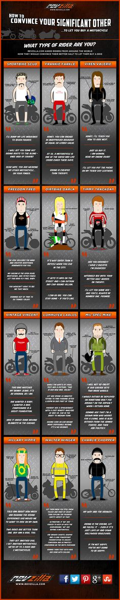 What Type of Rider Are You? This is funny!!  For many, the desire to ride and own a motorcycle is met by strong resistance from their loved ones. While in a relationship with a significant other, this is no different. This graphic was created to help those in such a situation convince their significant other to let them buy a motorcycle.