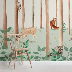 Nursery Wallpaper, Kids Wallpaper, Animal Wallpaper, Wallpaper Murals, Nursery Wall Murals, Woodland Theme, Woodland Nursery Decor, Woodland Animals, Church Nursery Decor