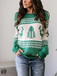 Women's Christmas Xmas Sweater Long Sleeve Xmas Deer Printed Pullover Fashion Female Jumper Sweater Tops Sweaters New Year 2020 – Clothing & Women Casual Sweaters, Winter Sweaters, Long Sweaters, Pullover Sweaters, Sweater Weather, Cardigans, Loose Sweater, Long Sleeve Sweater, Ugly Sweater