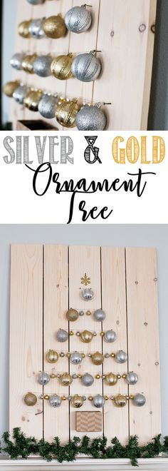 Silver and Gold Ornament Christmas Tree - learn how to make your own holiday ornament display #dihworkshop #sponsored