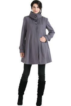 27bac59e6c07b Momo Maternity Women`s Wool Blend `Jessie` Pleated Swing Coat in Black,  Gray, or Navy